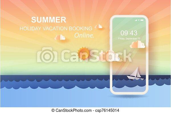 tiszta égbolt, úszó, vector., háttér., online, gyönyörű, vitorlázás, summertime idő, művészet, kilátás, dolgozat, beír, csónakázik, holiday fűszerezés, kilátás a tengerre, surface., 3, napnyugta, mozgatható, tenger, táj, lenget - csp76145014