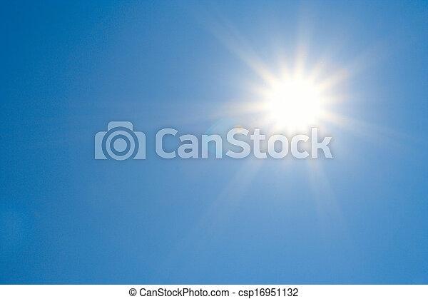 tiszta égbolt, nap, fényes - csp16951132