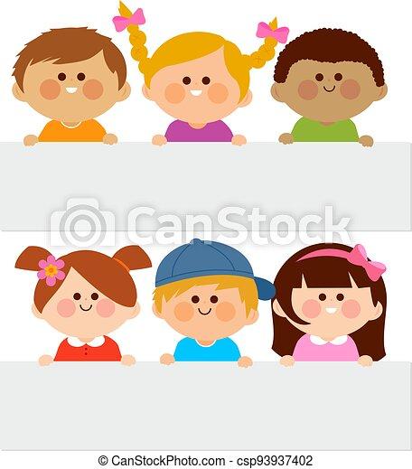 tiszta, vektor, csoport, ábra, placards., birtok, különböző, gyerekek - csp93937402