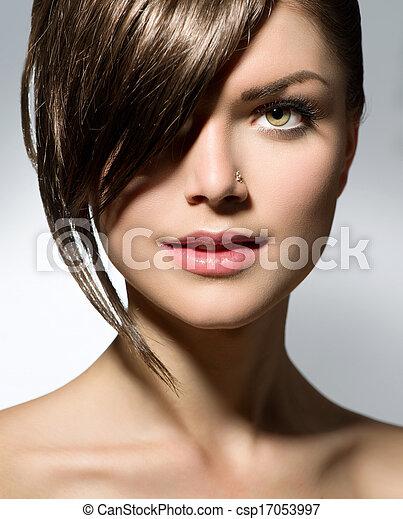tizenéves, fringe., leány, mód, haj, elegáns, rövid - csp17053997