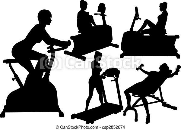 tornaterem, nők, workouts, gyakorlás, állóképesség - csp2852674