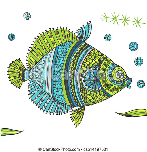 trópusi hal, vektor, -, háttér - csp14197581