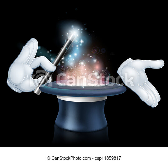 trükk, tető, varázsló, kalap, pálca - csp11859817