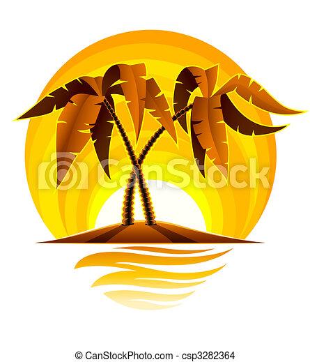 tropical sziget, pálma, naplemente óceán - csp3282364