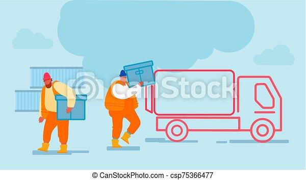 truck., doboz, tengeri kikötő, berakodás, munkás, globális, munkaszervezési, férfiak, rév, hord, rakomány, docks., tároló, teherautó, hajózás - csp75366477