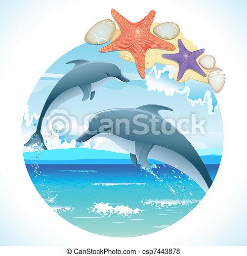 ugrás, delfinek - csp7443878