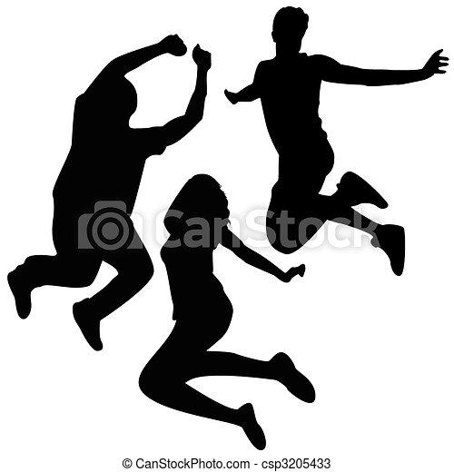 ugrás, silhouettes., 3, barátok, jumping. - csp3205433