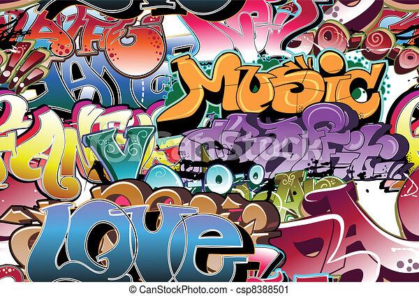 urban graffiti, seamless, háttér - csp8388501