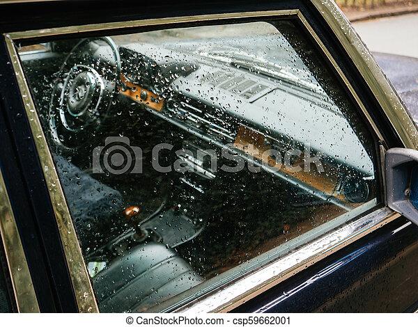 utas autó, pohár, befedett, esőcseppek, lejtő - csp59662001