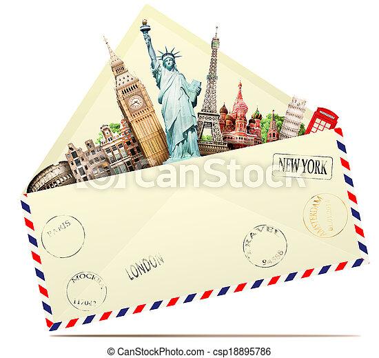 utazás, boríték - csp18895786