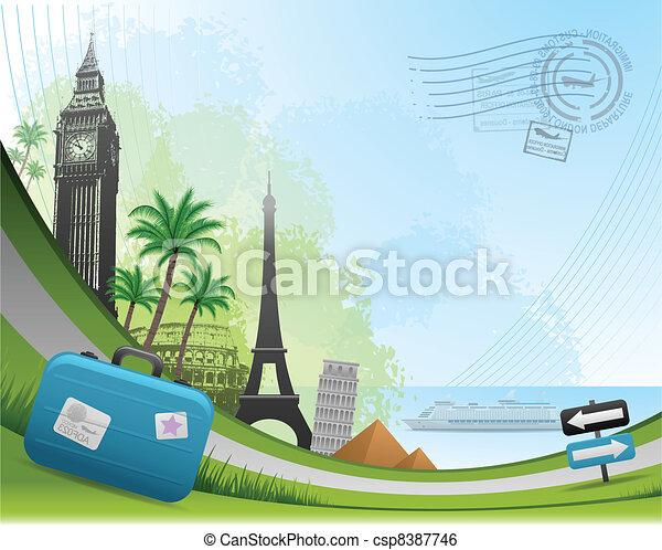 utazás, postai, kártya, háttér - csp8387746