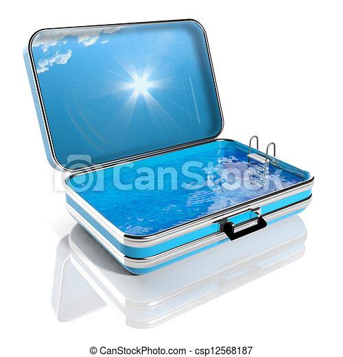 utazás, szünidő, úszás, nyár, concept., bőrönd, belső, pocsolya - csp12568187