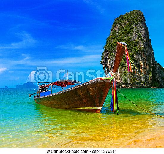 utazás, természet, hagyományos, tengerpart menedékhely, csónakázik, thaiföld, paradicsom, gyönyörű, fából való, sziget, ég, nyár, tropikus, kék, táj, táj, víz - csp11376311