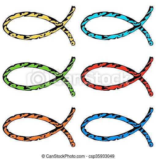 változat, ikon, fish, különböző, színezett, keresztény - csp35933049