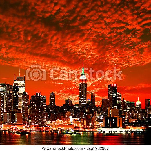 város égvonal, york, új, midtown - csp1932907
