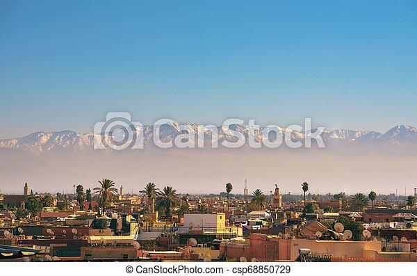 város, hegyek, láthatár, háttér, atlasz, marrakesh - csp68850729