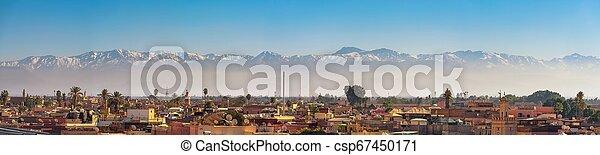 város, hegyek, panoráma, marrakech, láthatár, háttér, atlasz - csp67450171