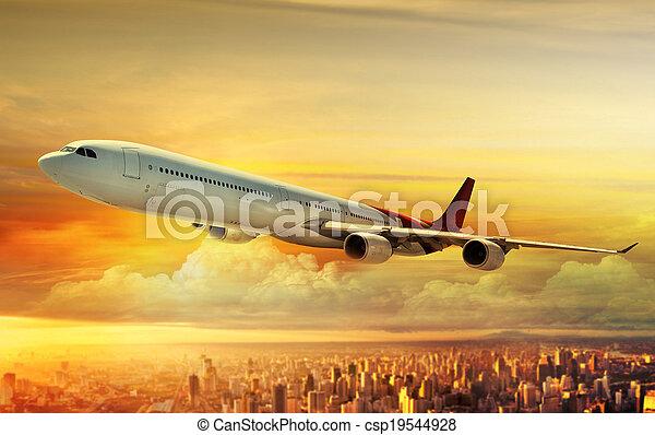 város, repülőgép, repülés, felül - csp19544928