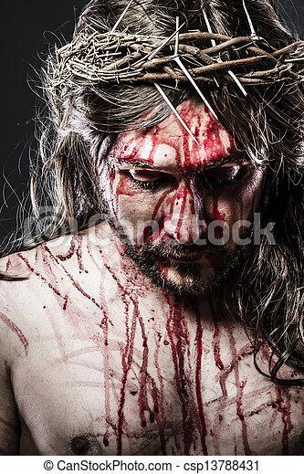 vérzés, kálváriadomb, jézus, ábrázolás, indulat, ember - csp13788431
