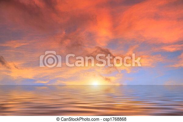 víz, elhomályosul, napnyugta, piros, felül - csp1768868