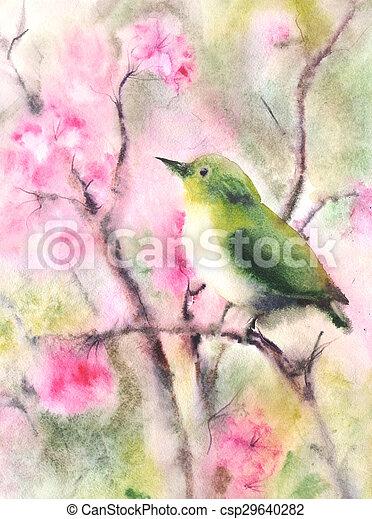 víz elpirul, rajz, madár, zöld, kicsi - csp29640282