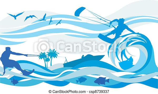 víz, szörfözás, -, sport, papírsárkány - csp8739337