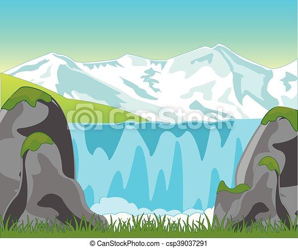 vízesés, nagy, hegy - csp39037291