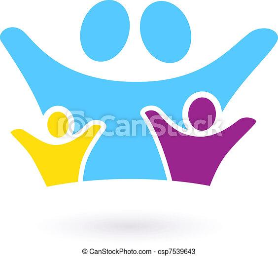 vagy, aláír, közösség, elszigetelt, ikon, család, &, fehér - csp7539643