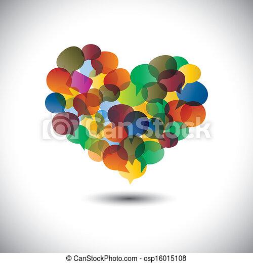vagy, csevegés, színes, panama, beszélgetések, symbol-, diák, vector., grafikus, média, online, szeret, dialogs, társadalmi, &, őt előad, kommunikáció, megbeszélések, közösség, ikonok, ez, beszéd, fogalom, s a többi - csp16015108