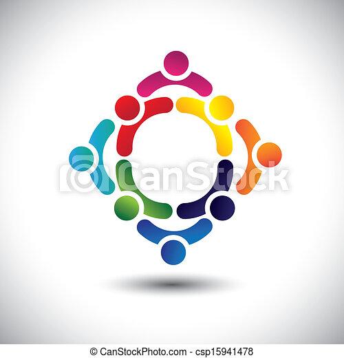 vagy, színes, játék, épület, is, barátság, vector., circles-, emberek, gyerekek, &, konzerv, összetett, befog, ikonok, ez, ábra, elfoglaltság, együtt, csoport, ábrázol, fogalom, s a többi - csp15941478