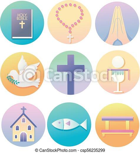 vallás, keresztény, ábra, ikonok - csp56235299
