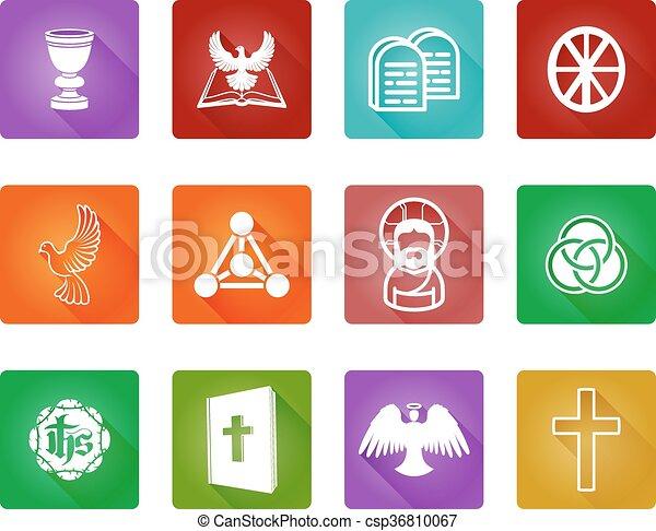vallás, keresztény, ikonok - csp36810067