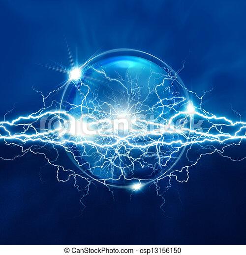 varázslatos, elektromos, gömb, elvont, háttér, világítás, kristály - csp13156150