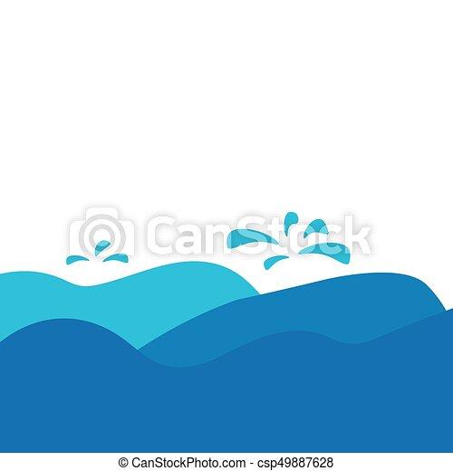 vektor, ábra, tenger, lenget - csp49887628