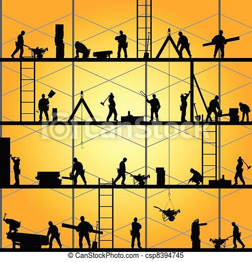 vektor, árnykép, munka, munkás, ábra, szerkesztés - csp8394745