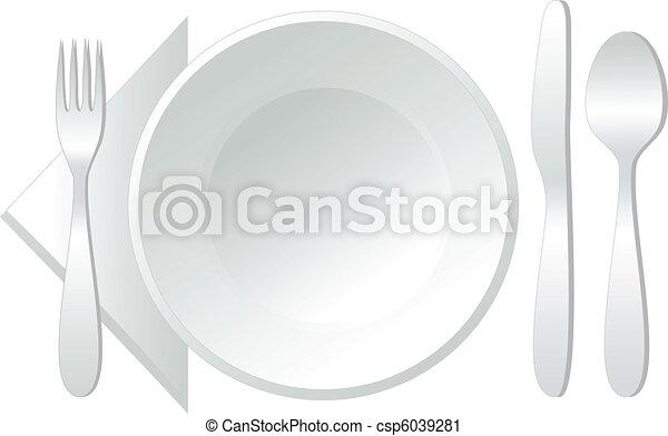 vektor, üres, tányér - csp6039281