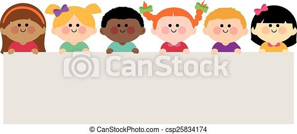 vektor, birtok, tiszta, csoport, gyerekek, banner., ábra - csp25834174