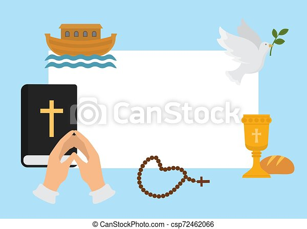vektor, bizalom, rózsafüzér, dove., keresztény, hope., kezezés összehajt, keresztelő, kereszténység, jelkép, vallás, kereszt, biblia, god., emberi, könyörgés, motifs., felhívás, vallásos, illustration. - csp72462066