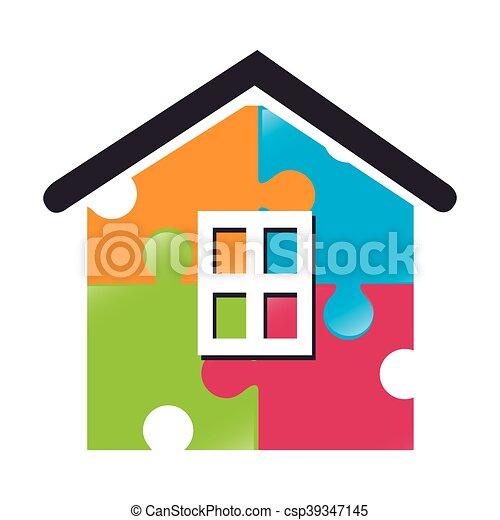 vektor, darab, épület icon, rejtvény - csp39347145