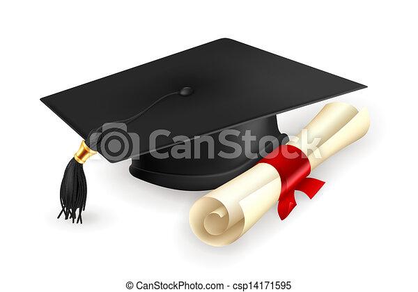 vektor, diploma, sapka, fokozatokra osztás - csp14171595