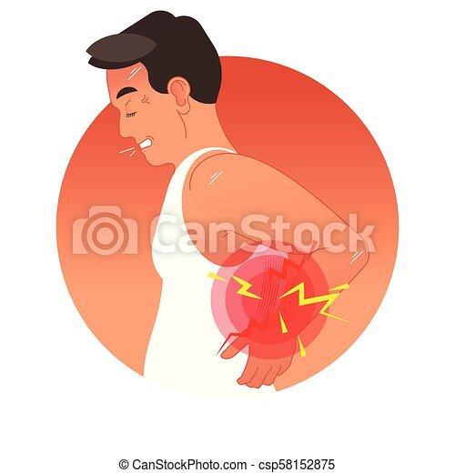 vektor, emberi, sport, vagy, túlterhelés, injury., hát, munka, torso., ábra, fogalom, fájdalmas - csp58152875