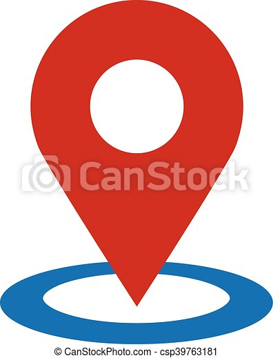 vektor, geo, elhelyezés, gombostű, ikon - csp39763181
