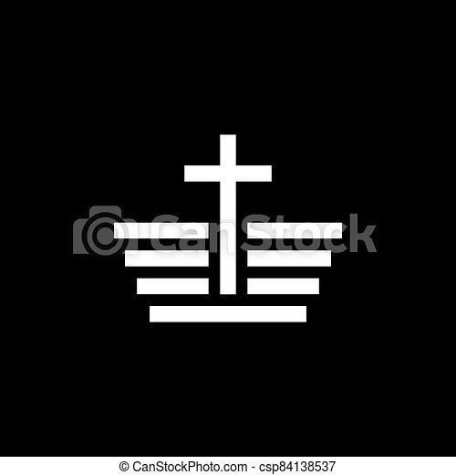 vektor, ikonok, templom, jelkép, vallásos, cégtábla, kereszténység - csp84138537