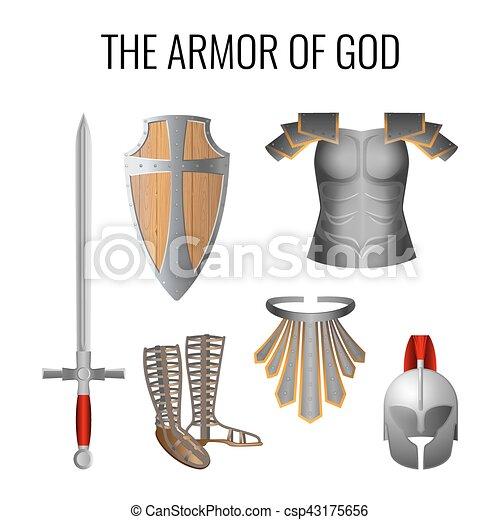 vektor, isten, alapismeretek, elszigetelt, állhatatos, white., felfegyverez - csp43175656