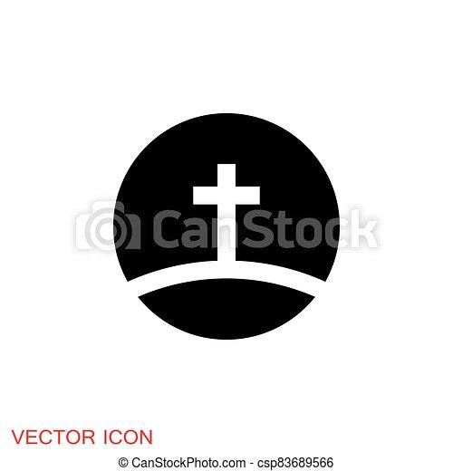 vektor, jelkép, vallásos, cégtábla, templom, kereszténység, ikonok - csp83689566