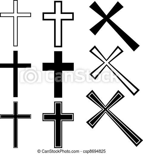 vektor, keresztény, keresztbe tesz - csp8694825