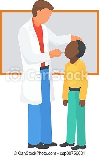 vektor, klinika, karikatúra, orvos, concept., vizsga, diagnózis, torok, illustration., törődik, kivizsgálás, gyermek, gyermekorvos, orvosi - csp80756631