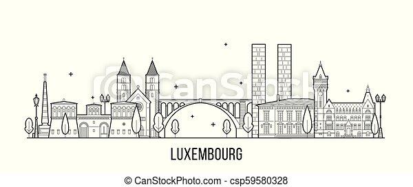 vektor, luxemburg, épület város, láthatár - csp59580328