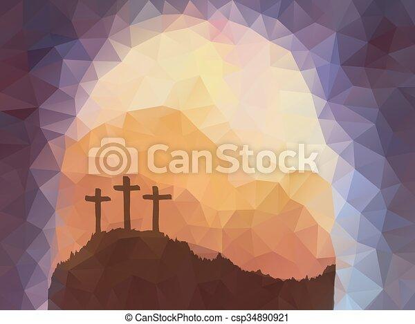 vektor, polygonal, design., színhely, húsvét, cross., christ., jézus - csp34890921