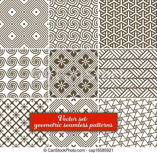 vektor, set:, 9, geometriai, patterns., seamless - csp16585921